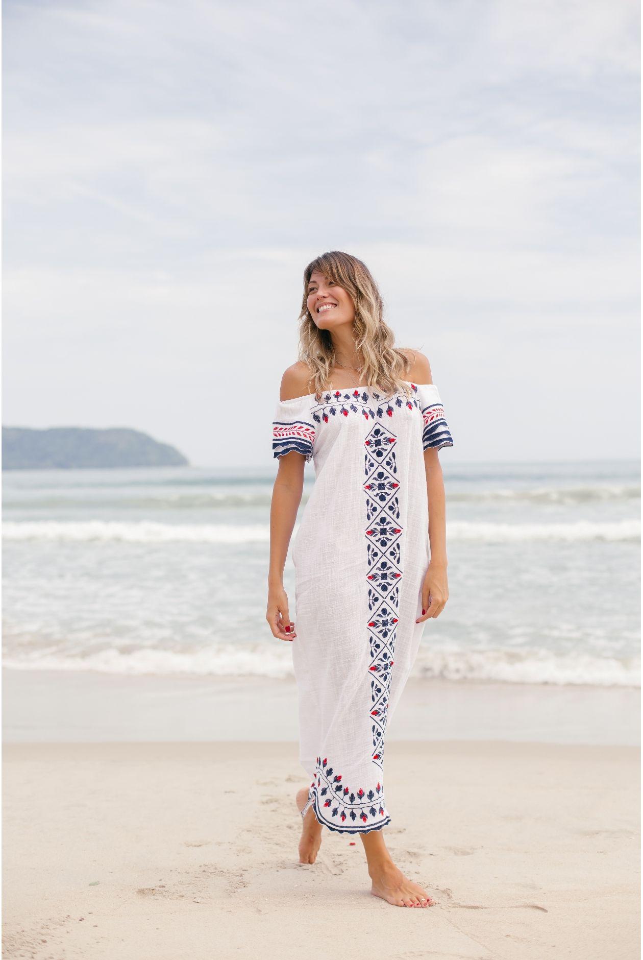 2a651ec2f Vestido Longo Ombro a Ombro Gardenia Off White - batiche